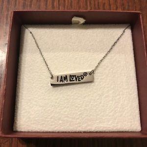 """Helzberg sterling silver """"I am loved"""" bar necklace"""